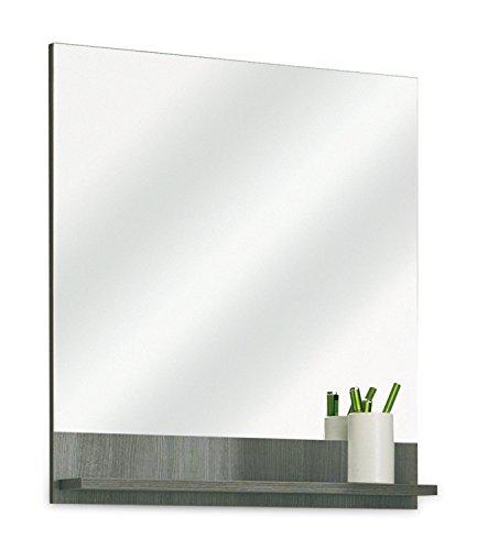 Badezimmerspiegel Badspiegel Wandspiegel | Graphit Struktur | Dekor | mit Ablage (Rechteckiger Spiegel Ohne Rahmen)