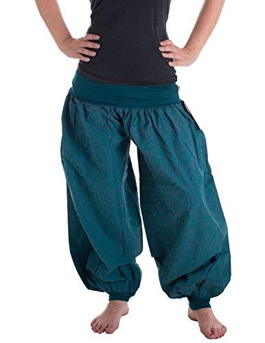 Vishes �?Alternative Bekleidung �?Haremshose aus Baumwolle mit elastischem Bund �?aus robuster Baumwolle bedruckt �?unisex Türkis