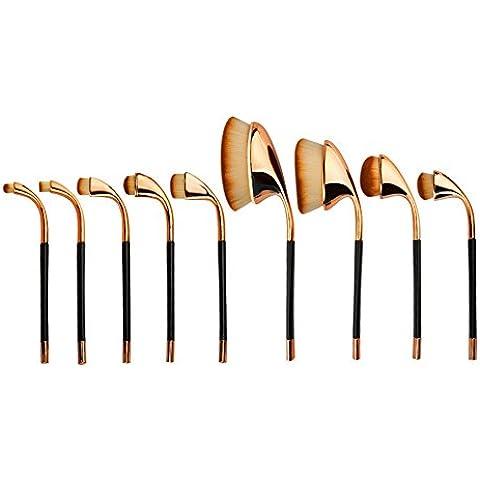 WIMKEN Pro 9Pcs / set di pennelli di trucco spazzolino estetica Kabuki Powder Foundation spazzole di spazzola di trucco (oro rosa)