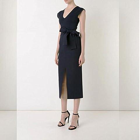 Carrera profesional de la manera profunda v negro arco pretina delgado bolsillo decorativo frente corte vestido . black .