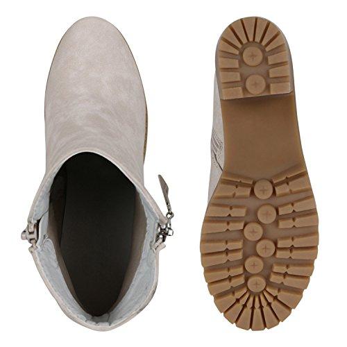 Damen Stiefeletten Ankle Boots Profilsohle Blockabsatz Schnürer Creme Creme