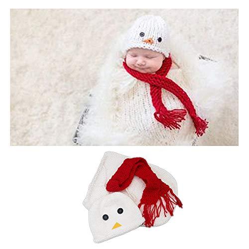 NROCF Neugeborene Fotografie Outfits Häkeln, Mädchen Junge Häkeln Strickmütze + Schal Schneemann Form Kostüm, Fotografie Requisiten
