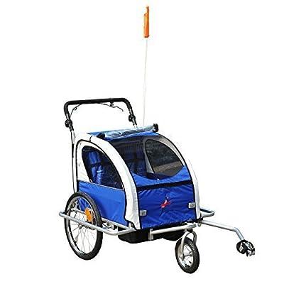 Remolque Infantil para Bicicleta 2 PLAZAS Rueda Giratoria 360° y Amortiguadores CON BARRA INCLUIDA Kit de Footing COLOR Azul