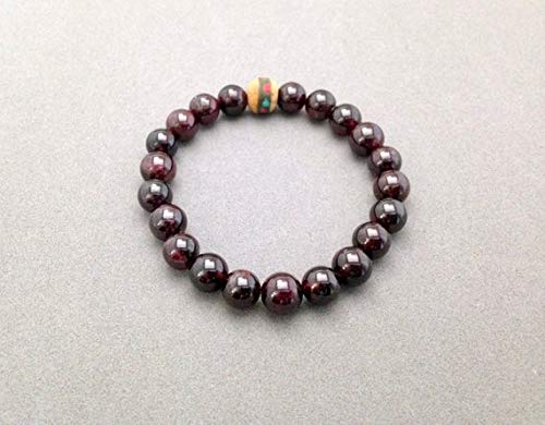 LOVEKUSH Beautiful AAA++ Quality Red Garnet and Inlaid Wooden Bead Stretch Bead Bracelet for Motivation, Activate Kundalini Energy, Purification and to Lessen Depression 9mm Depression Crystal
