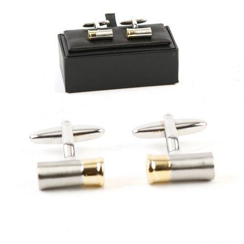 Harvey Makin Rhodium Teller Manschettenknöpfe Bullet Fällen in Geschenkbox