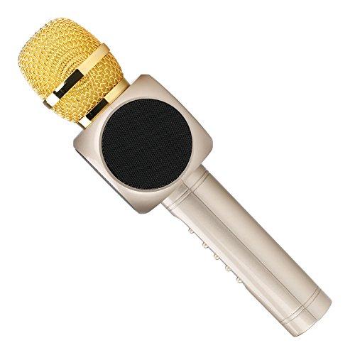 Micrófono Inalámbrico Portátil Bluetooth 2 Altavoces Incorporados para Karaoke 3.5mm AUX Compatible con PC/ iPad/ iPhone/ Smartphone (Dorado)
