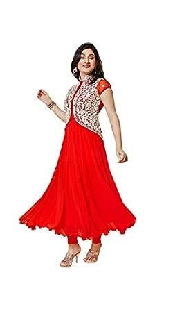 Mrig Women Faux Georgette Anarkali Dress Material (Red_Freesize)