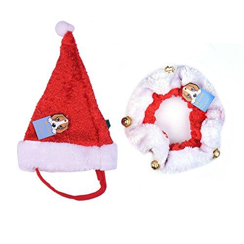 Weihnachten Hund Katze Hut & Halsband Set, Niedlich Haustier Weihnachtskostüm mit Glocken für Klein und Mittelunter Hund Katze Chihuahua - 3 Größe Vorhanden(M)