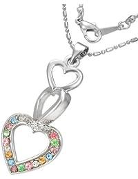 Mode Kristall Liebe Herz Journey Charm Halskette mit Zirkon & Schmucksteinen - Bunt