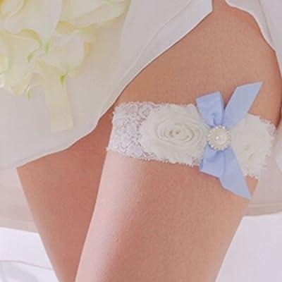 Bowknot Charming Blau Elastische Rhinestone Spitze Brauthochzeits Abschlussball Strumpfband