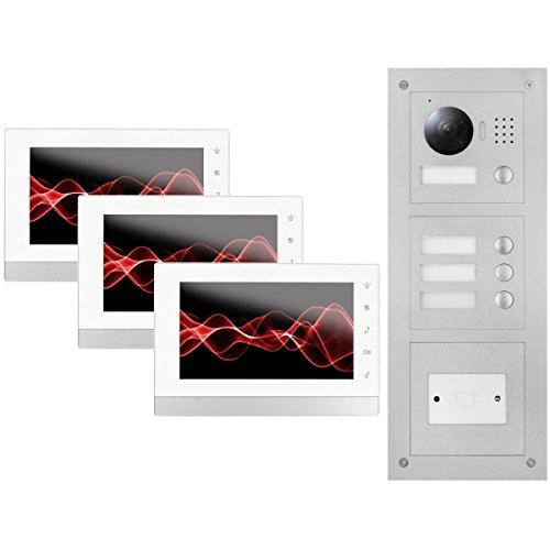 """IP Video Türsprechanlage 3x 7\"""" Innen- und 3-Fam. Außenstation + RFID, HD"""