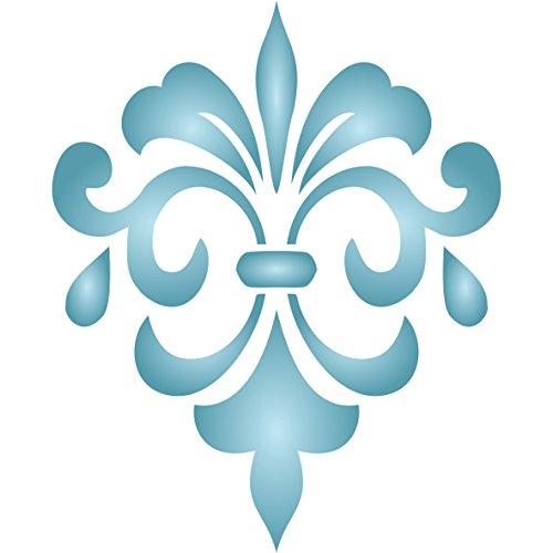 Fancy Fleur de Lis Schablone - 16.5 x 20.5cm - L - wiederverwendbar Iris Schwert Lilie Fleur de Lis Fleur-de-Lys-Wand Schablone -