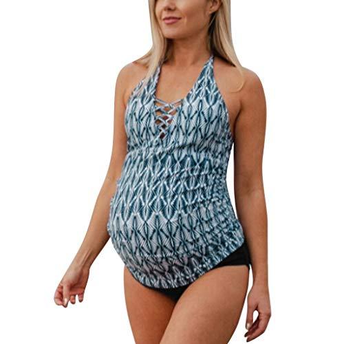 XNBZW Mutterschaft Tankinis Damen Blumendruck Bikinis Badeanzug Beachwear Schwangere Anzug Anzug Attraktiver Schwangerschafts Badeanzug im individualen Look/Umstands Badeanzug(XL,Blau)