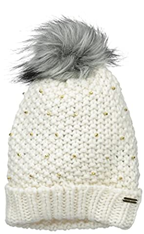 Steve Madden Women's Knit Cuff Hat with Faux Fur Pom and Embellishments, Ivory, One Size