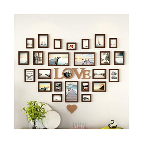 YZQ Picture Wall Heart-Shaped Multi-Frame Europäischen Solid Plate Wall Free Punch Kombination Schlafzimmer Wohnzimmer Wand (Color : B) (Karton-heart Shaped Box)