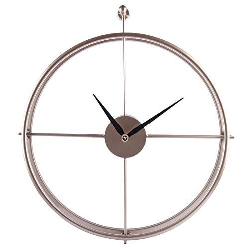 Jo332Bertram Vintage Wanduhr, XXL Groß Wanduhr Uhr Metall Ohne Tickgeräusche Dekorative Wanduhr für Küche Wohnzimmer Büro - Golden (Große Dekorative Wanduhren)