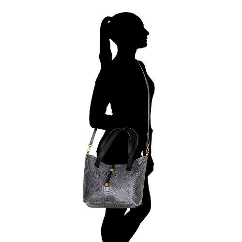 Frau Handtasche Pythonmuster mit großen Griffen und Schultergurt in echtem Leder Made in Italy Chicca Borse 30x24x13 Cm Grau