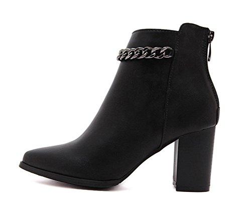 Aisun Femme Classique Chaussures Talon Bloc Métallique Bottines Noir