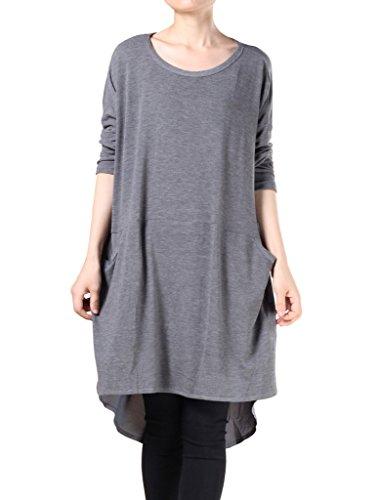 MatchLife Damen Langarm Spleißen Chiffon T-Shirt Dunkel Grau