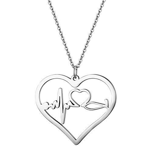 Cupimatch Herz Halskette Damen EKG Kette Krankenschwester Neutheit Schmuck für Frauen Mädchen 40cm, Silber