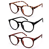 VECIEN Reading Glasses 3-Pack Matte Finish Readers for Fresh Feel, Crystal Lens Give