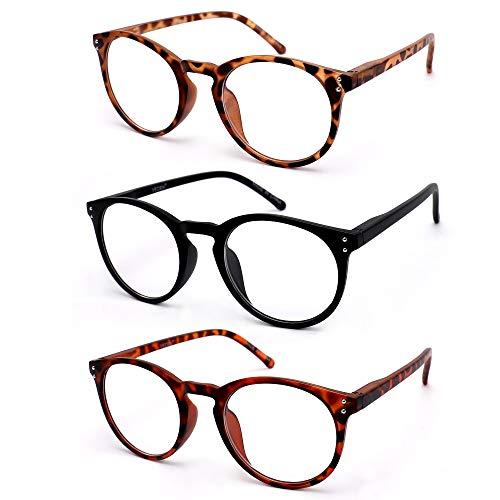 Vecien 3-paia occhiali da lettura presbiopia,montatura per occhiali resistente,cerniere a molla/ovali 3 colori uomo donna (1.5)