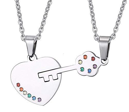 Xbyee stainless steel chiave collana cuore pendente arcobaleno di cristallo delle coppie a gay & lesbian orgoglio promessa