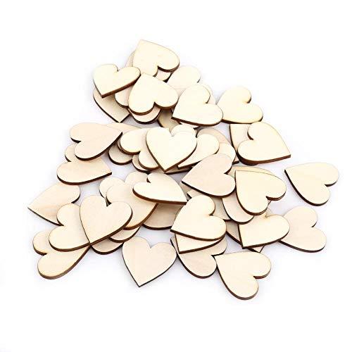 lz, 100 Stück aus Holz Liebe Herzform Verschönerung für Hochzeit DIY Kunsthandwerk Karte Machen Valentine Dekoration(25mm) ()