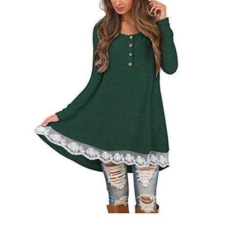 ZIYOU Lange Sweatshirt mit Spitze, Mode Langarm Rundhals Pulli T-shirt/Casual Elegante Pullover Tops Herbst (EU-40 / CN-XL,Grün)