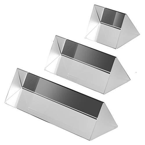 3 Set Kristall Optisches Glas Dreieckigen Prisma zum Unterrichten von Lichtspektrum Physik, Prisma Fotografie -