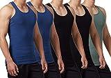 FALARY Camiseta de Tirantes para Hombre Pack de 5 de Algodón 100% más Colores Negro Azul Marino...