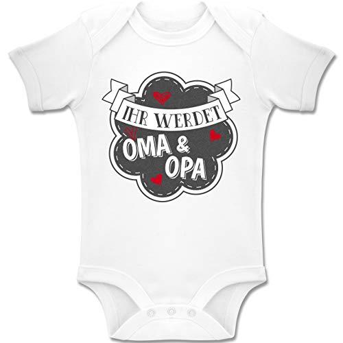 Shirtracer Sprüche Baby - Ihr werdet Oma und Opa - 1-3 Monate - Weiß - BZ10 - Baby Body Kurzarm Jungen Mädchen