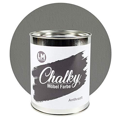 Outdoor-finish (LM-Kreativ Chalky Möbelfarbe deckend 1 Liter / 1,35 kg (Anthrazit), matt finish In- & Outdoor Kreide-Farbe für Shabby-Chic, Vintage, Landhaus)