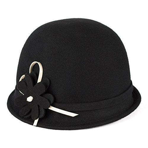 Meine Damen Filz Vintage Style Cloche Hut Handgefertigt mit Blume Band, Schwarz, (Schwarz Cloche Hut)