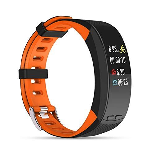 UMGZY Rastreadores de Ejercicios Pulsera Inteligente GPS para Exteriores Resistente al Agua Multideportivo Monitor de Ritmo cardíaco Monitor de presión Arterial para iOS Teléfono Android,Orange