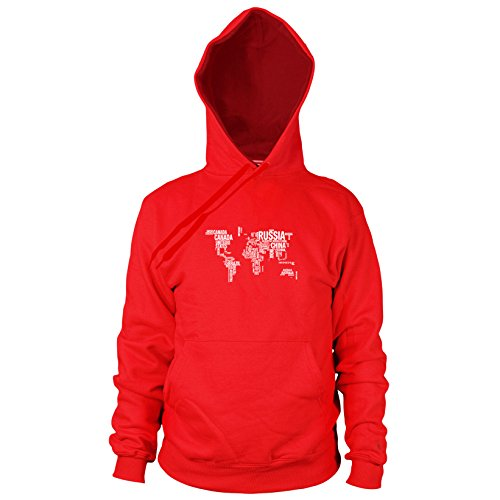 Letter World Map - Herren Hooded Sweater, Größe: XXL, Farbe: rot