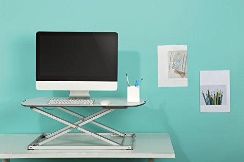 RICOO Sitz Steh Schreibtisch-Aufsatz TS1111 Höhenverstellbar Tisch-Aufsatz für mehr Ergonomie | Lift Work-Station mit Ablage für Tastatur, Maus & Monitor | Gestell Silber - Auflage-Fläche Weiß