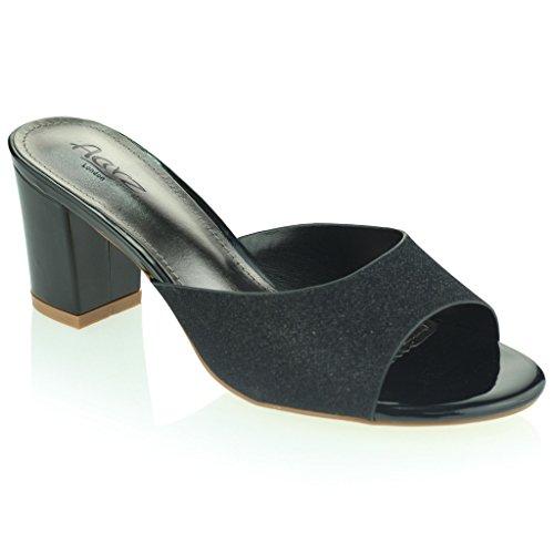 Femmes Dames Brillante Enfiler Diamante Talon Bloc Soir Fête Bal de Promo Des Sandales Chaussures Taille Noir