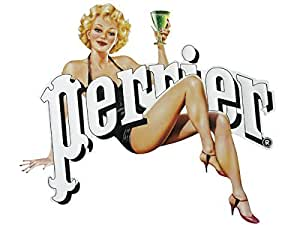 PLAQUE METAL 30X33 cm PUB RETRO PIN UP PERRIER EAU GAZEUZE NATURELLE