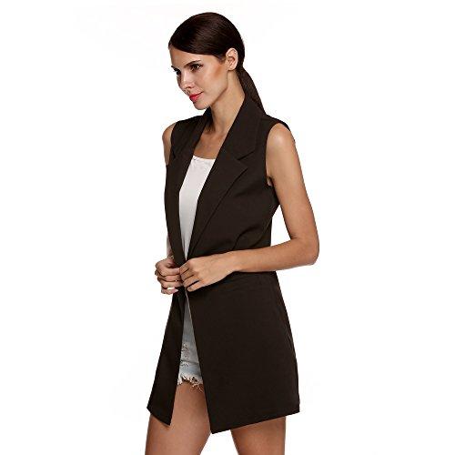 BOZEVON Femme Cardigan Jacket Veste Manteau sans Manches Casual Noir