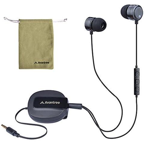 Avantree Ladybird Auriculares Retráctiles Estéreo Intraurales Aislantes del Ruido con Micrófono y Control de Volumen para Seleccionar Pista y Recibir Llamadas Manos