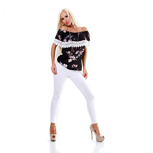 Italy Fashion Damen Edel Tunika Shirt Bluse FLOWER Schwarz