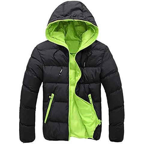 Koly Gruesos de invierno Slim Casual caliente de los hombres con capucha chaqueta (finales de otoño y principios de invierno) (Verde, M)