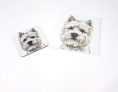 Ensemble 2 pièces Westie terrier écossais chien Fabriqué au Royaume-Uni de Vœux Anniversaire Carte de Noël Dessous De Verre