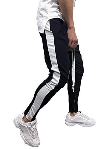 Tomwell Herren Hose Stripe Pants Jogginghose Sport Fitness Trainingshose Slim Fit Sweatpants Jogging-Hose Trainingshose Jogger Fitness Sport Joggerhose Stoffhose Schwarz Weiß X-Small