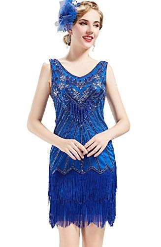 BABEYOND Damen Retro 1920er Stil Flapper Kleider mit Zwei Schichten Troddel V Ausschnitt Great Gatsby Motto Party Kostüm Kleider- Gr. XL (Fits 86-96 cm Waist & 104-114 cm Hips), Blau (1920 Mode Kostüm)