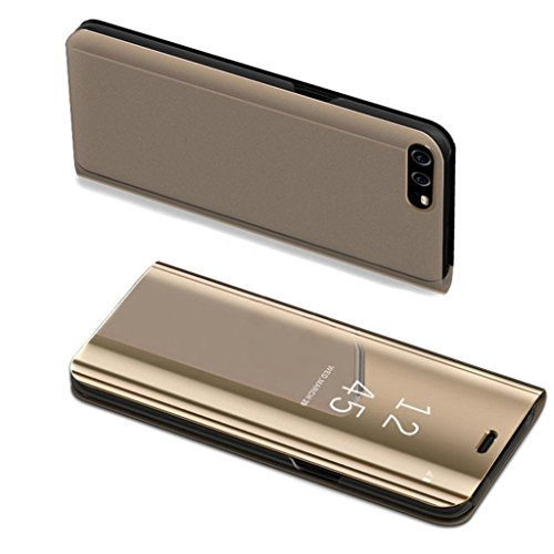 COTDINFOR Huawei P10 Lite Custodia Placcatura Specchio Clear View Standing Cover Slim Mirror Flip Portafoglio Antiurto Case con Funzione Stand per Huawei P10 Lite Mirror PU Gold MX.