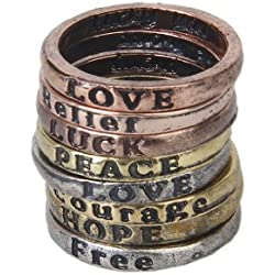 8pcs Vintage Anillo Liso Para Mujeres Caracter PEACE LOVE COURAGE WISDOM PEACE
