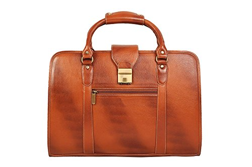 Zordan Leather Laptop Bag 15.6 inches for Made in Pure Leather with Expandable Features (Tan)
