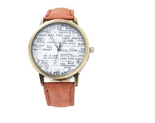 Souarts Damen Braune Retro Segeltuch Armbanduhr Armreif Uhr mit Batterie Zifferblatt